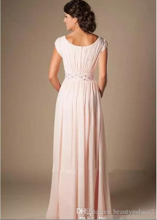 Blushing Pink Long Formal Full Length Modest Chiffon Beach Evening Bridesmaid Dresses With Cap Sleeves Beaded Ruched Bridesmaids Dresses