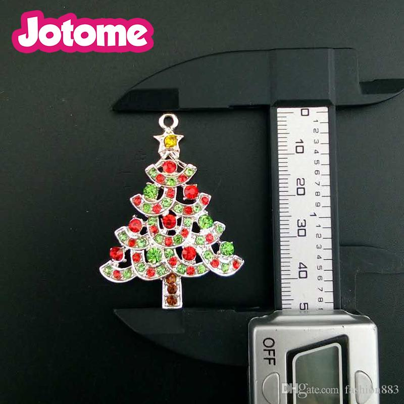 Hot salling wholesale in China red and green crystal rhinestion Christmas tree pendant clothing ornament charms