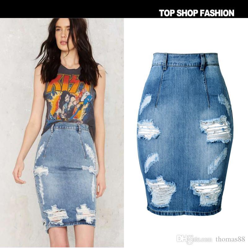 fd0aacd086 Compre Falda De Mezclilla De Las Mujeres 2016 Del Verano Ocasionales Split Jeans  Faldas Longitud De La Rodilla Ladies Cintura Alta Midi Lápiz Falda Jupe En  ...