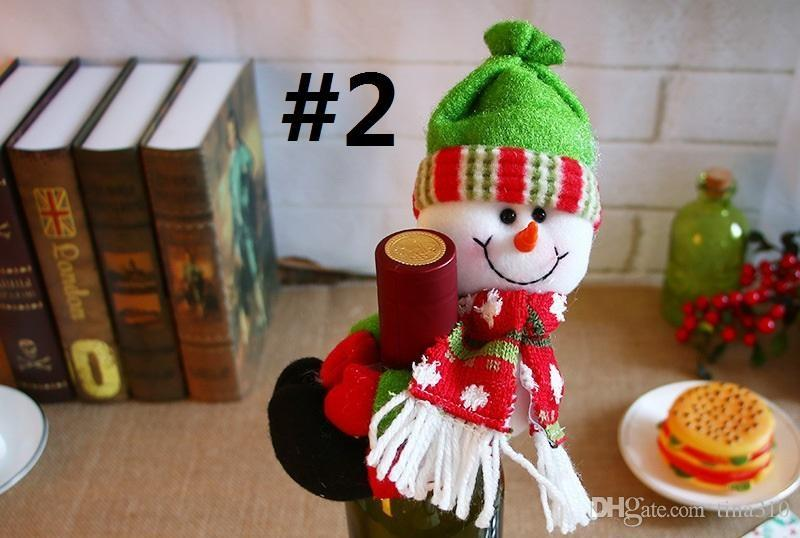 NEW XMAS bottle holder Red Wine Bottle Cover Bags Hug Santa Claus Snowman Dinner Table Decoration Home Christmas Party Decors IC554