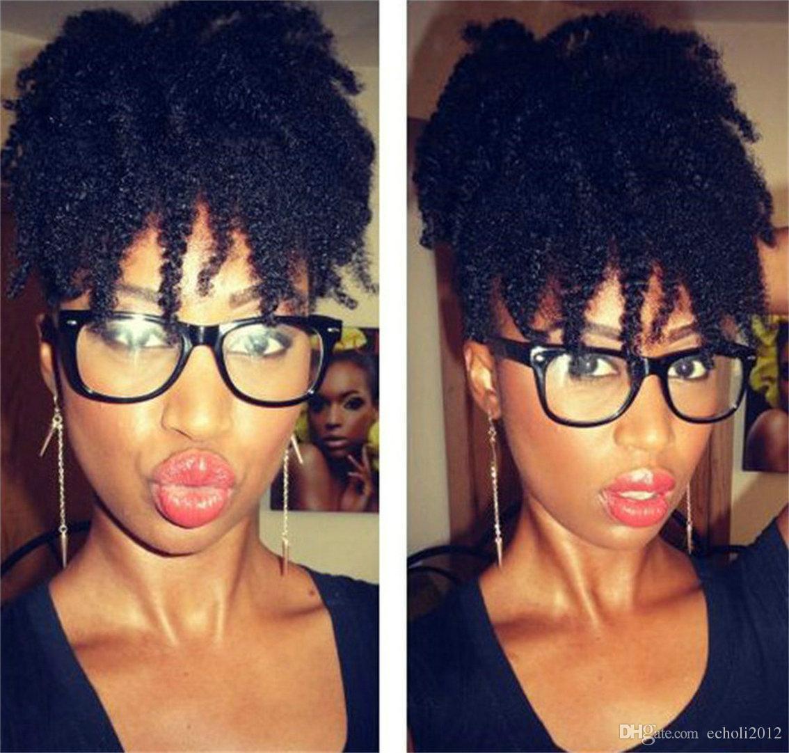 Kordelzug Afro-Pferdeschwanz Erweiterungen verworrene lockige Clip in menschliches Haar Pony Schwanz natürlichen Haarbüschel Afro Brötchen Haarteil natürliche Farbe