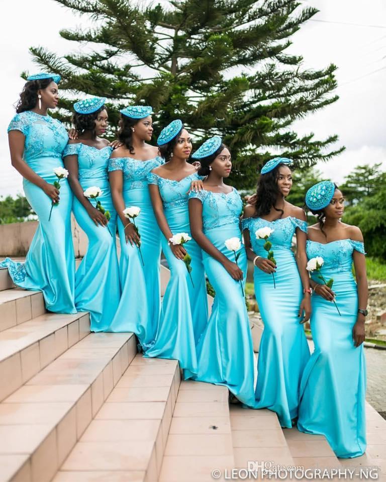 2017 Mais Novo Sexy Sereia Azul Fora Do Ombro Conversível Floral Longo Da Dama de Honra Vestidos de Festa Vestidos de Baile