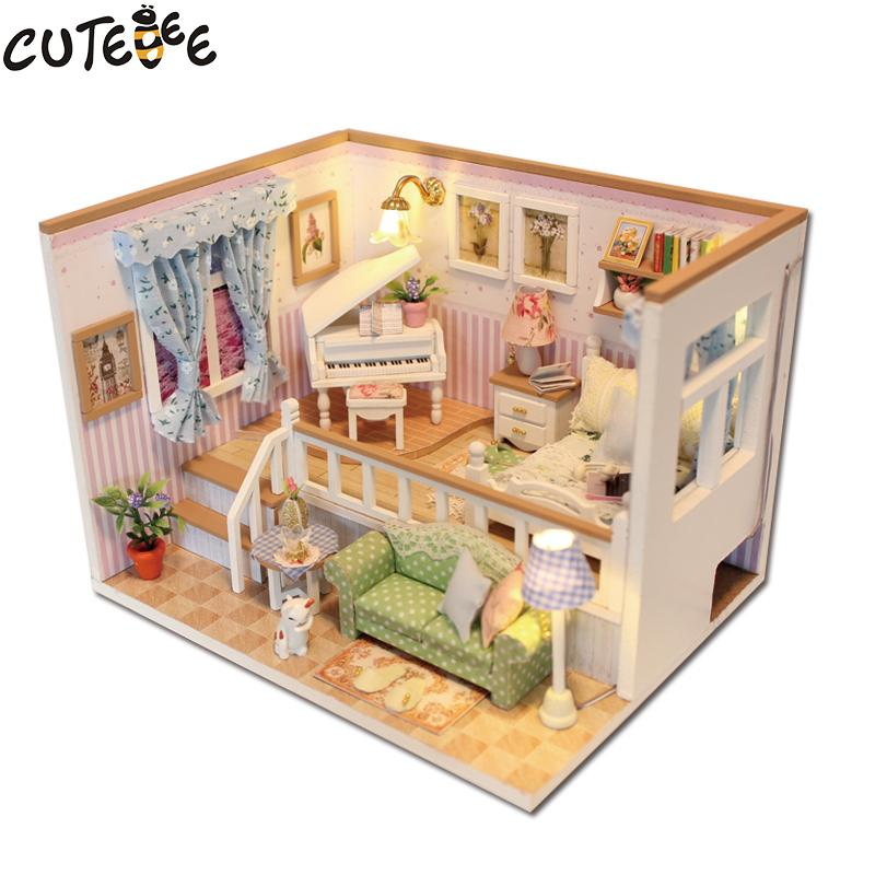 Diy Miniature Doll House Flat Packed Cardboard Kit Mini: Wholesale CUTEBEE Doll House Miniature DIY Dollhouse With