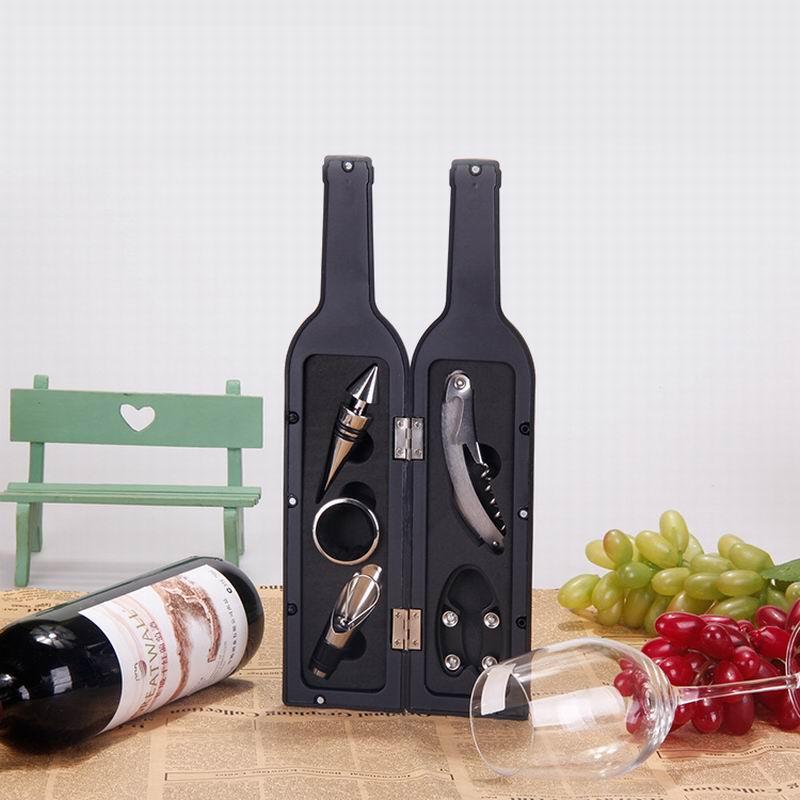 Şişe Şekilli Kırmızı Şarap açacağı set 5 adet Havalandırıcı Tak Cap Pourer Decanter paslanmaz çelik kırmızı şarap halka 5 in 1 Şişe Açacağı