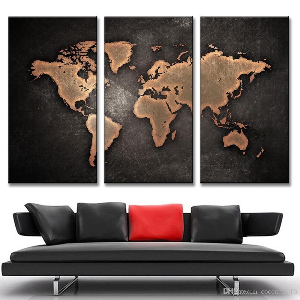 3 Stücke Weltkarte Gemälde HD Abstrakte Weltkarte Leinwand Malerei für Wohnzimmer Wand Moderne Dekor Bild ungerahmt