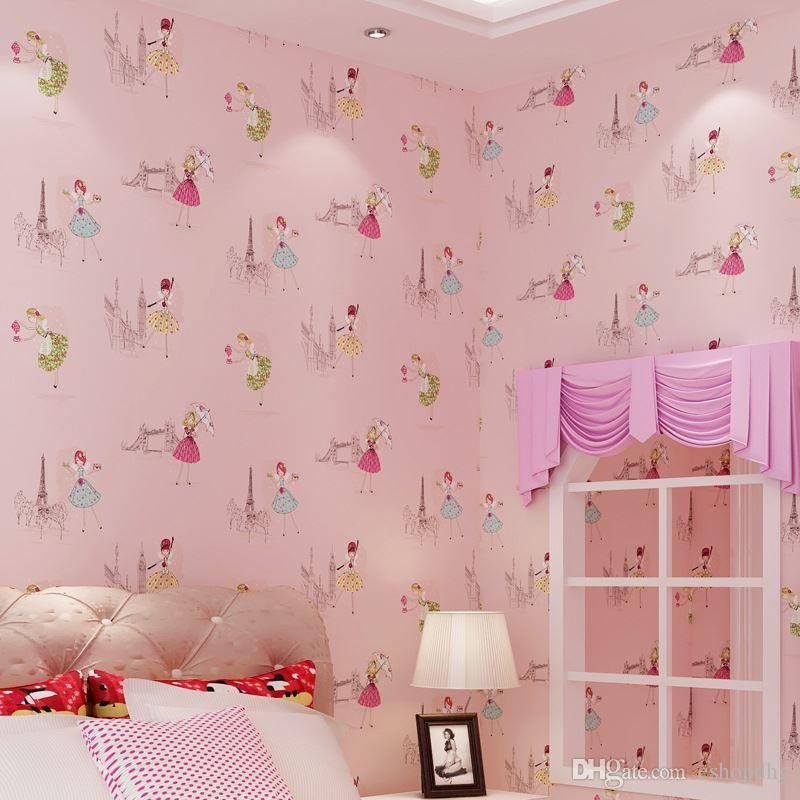 Elegant 10*0.53 M Paris Girls Bedroom Wallpaper Cartoon Princess Childrenu0027S Room  Warm And Lovely Wallpaper Background Wallpaper Wholesale High Definition Hd  ...