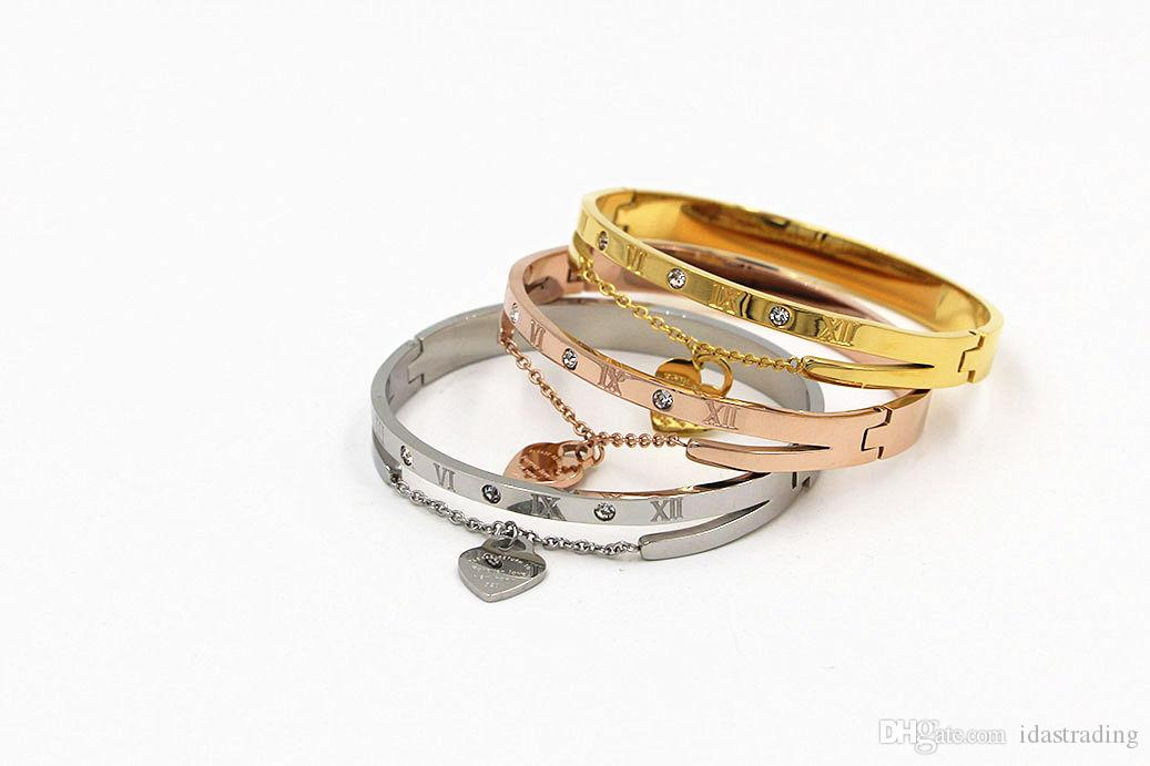 Classic Women New Jewelry Gold Plated Party Bracelet Hearts Shape Charm Crystal Bangles For Vogue Girls Wholesale