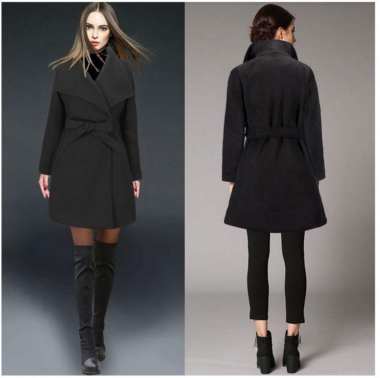 2017 outono e inverno novo stylizing casaco de lã com cinto caprichoso cáqui verde preto para as mulheres s-2xl tamanho moda