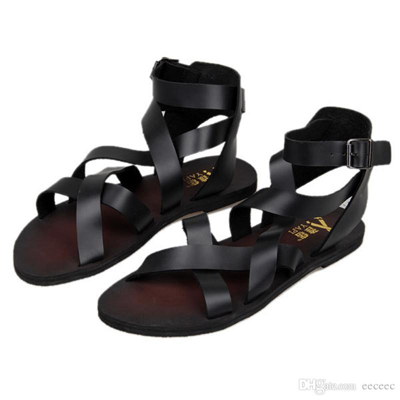 548291d7c291 New Trendy Summer Men Ankle Strap Buckle Strap Beach Shoes Roman Gladiator  Cross Tied Leather Sandals Salt Water Sandals Bridesmaid Shoes From Eeceec