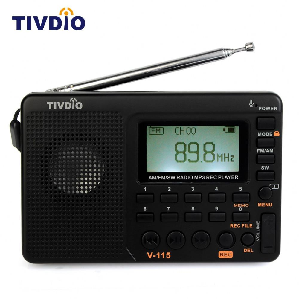 Wholesale Tivdio V 115 Multiband Fm Am Sw Radio Receiver Usb 100m Simple Transmitter Interface Charge Mp3 Wma Music Player Portable Support Micro Sd Tf Card