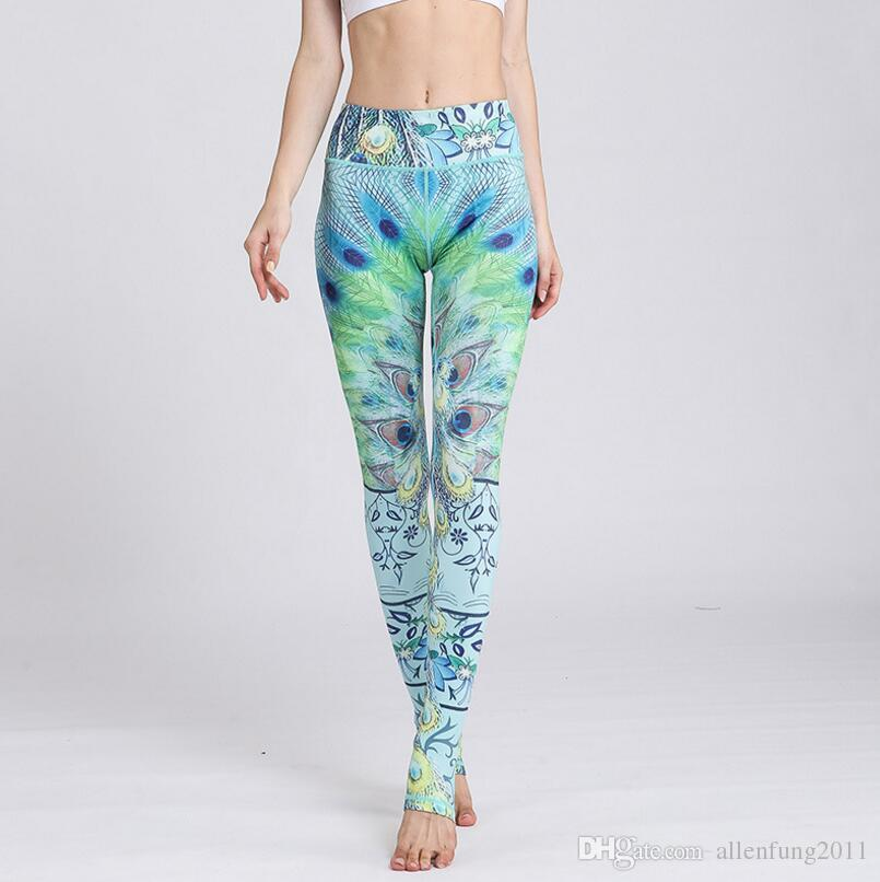 2019 Peacock Feathers Series Yoga Pant Women S Sport Fitness