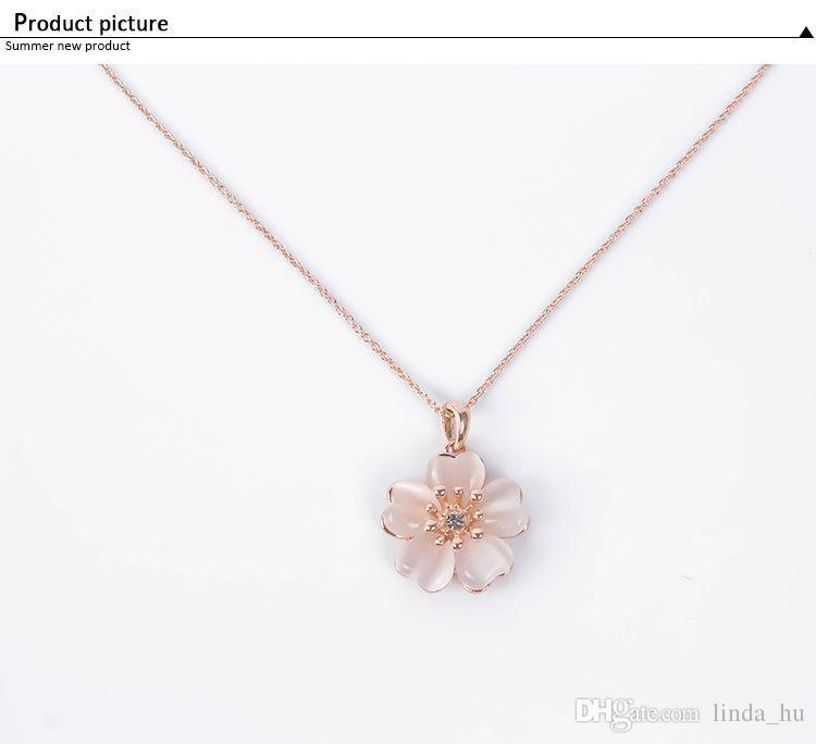 2016 verano moda europea y americana nueva pequeña flor fresca collar pendientes dos piezas de joyería de ópalo amor femenino