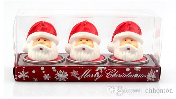 Рождественские украшения романтические подарки 3 шт. / 1 компл. Рождественские свечи с Санта-дом Снеговик Xmas партия подарок Home Decor FP05