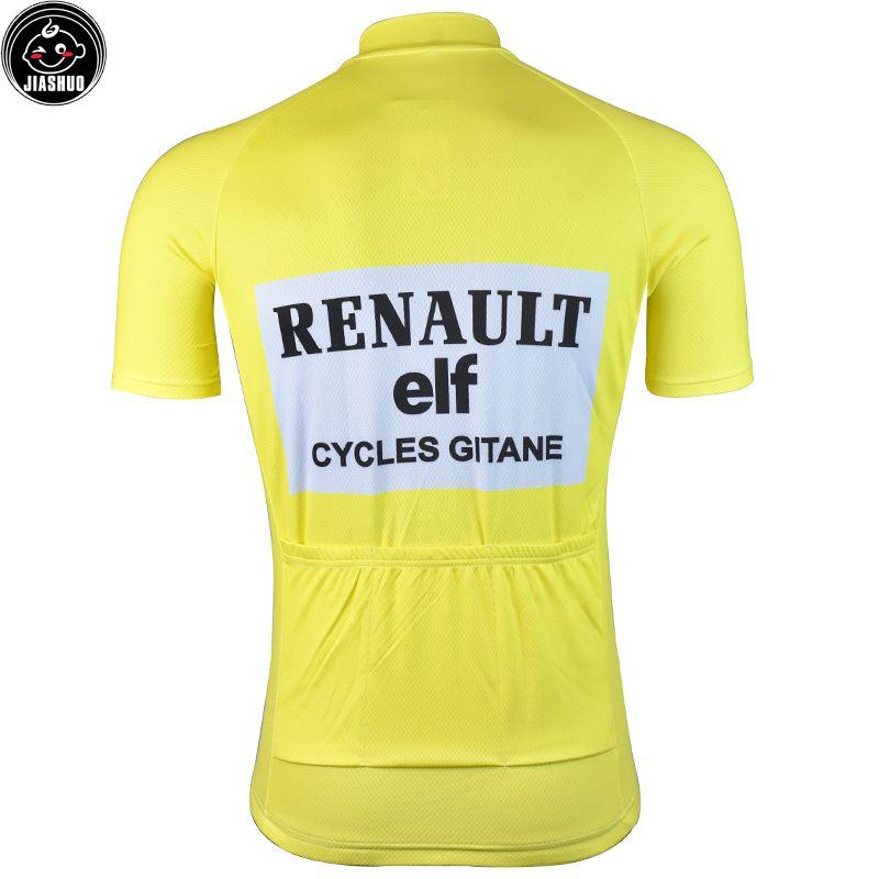Retro Klasik YENİ Sarı Dağ Yolu YARIŞ Takım Bisiklet Pro Cycling Jersey / Gömlek Giyim Hava JIASHUO Nefes Tops