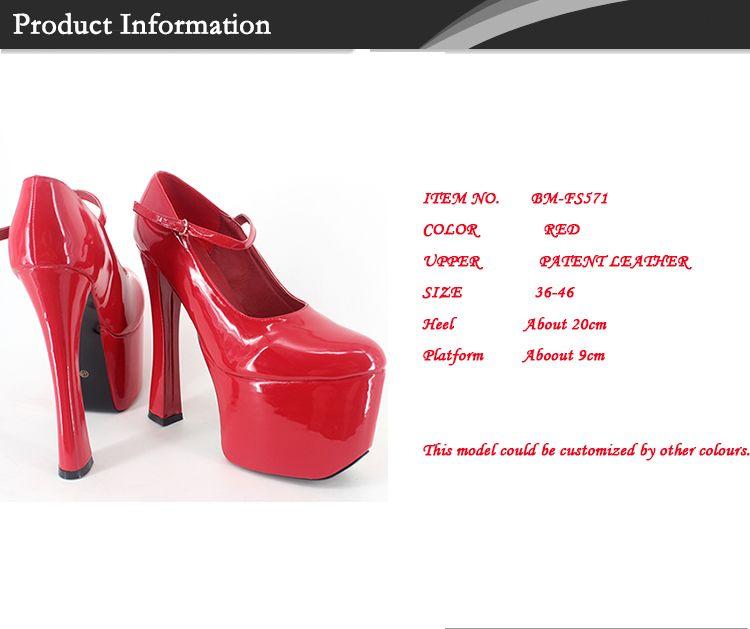 Wonderheel Sexy fivela bombas 20 cm saltos quadrados com plataforma de patente sexy fashion show bomba mulheres chunky calcanhar dedo do pé redondo bombas