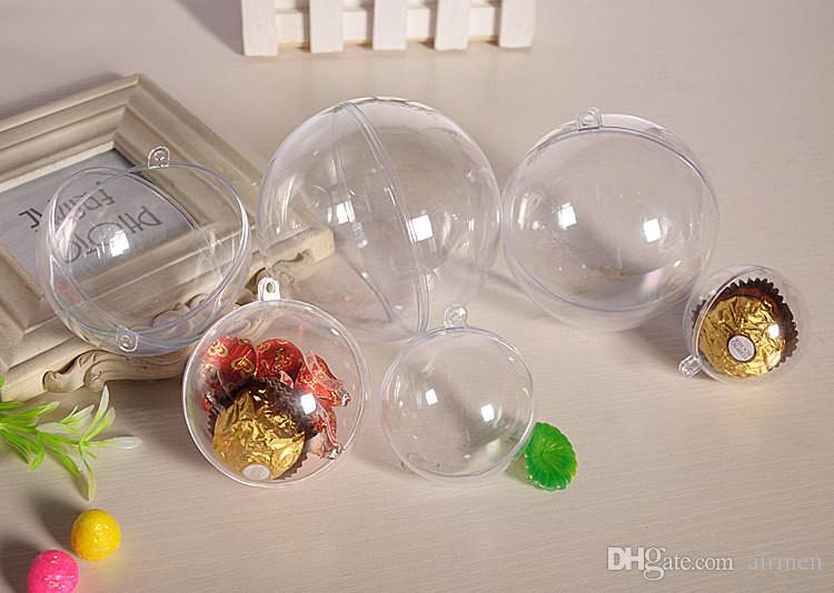 2017Christmas Decorations Openable Transparent Plastic Christmas Ball Baubles 4cm To 14.6cm Christmas Tree Ornament Party Wedding Clear Ball