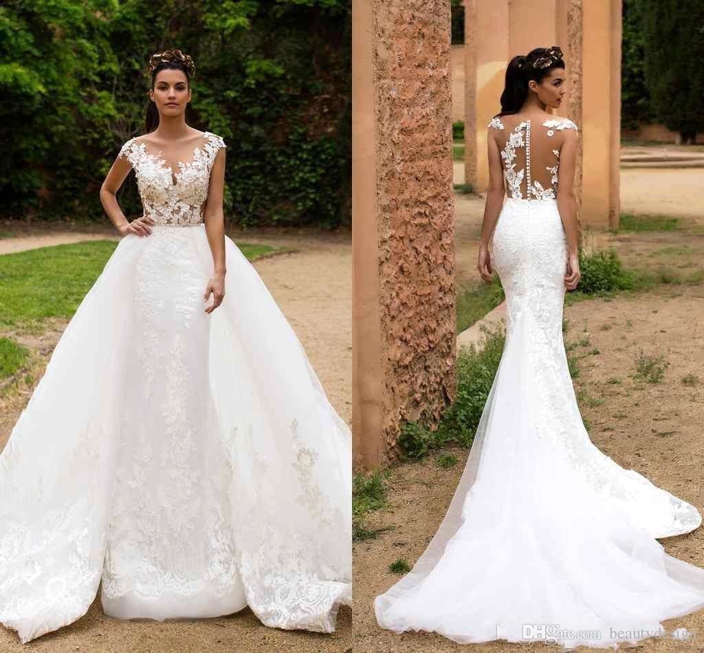 2018 Lace Mermaid Wedding Dresses Illusion Cap Sweep Tulle