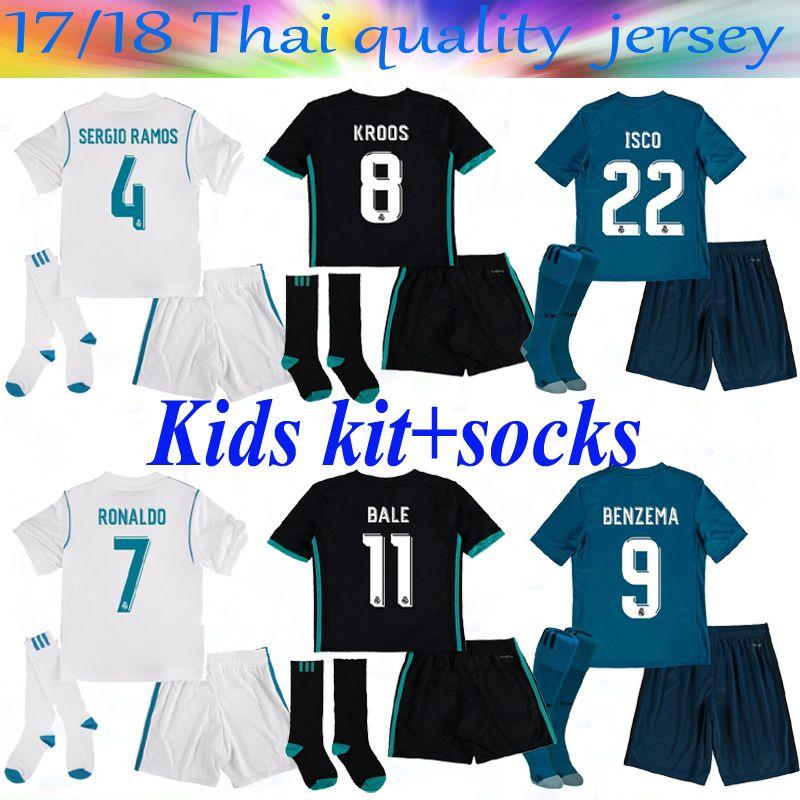 2017 17 Kids Kit Real Madrid Home 3rd Soccer Jersey