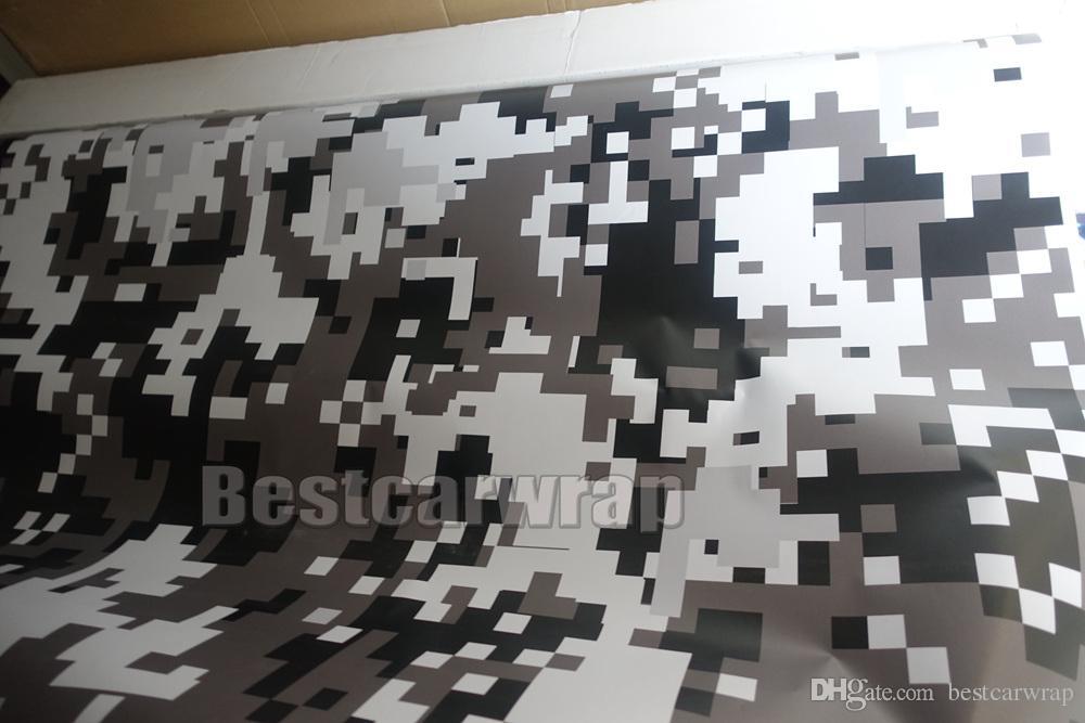 Ubran schwarz weiß Digital Tiger Camo Vinyl Auto Wrap mit Luftblase kostenlose Pixel Camouflage Grafiken Auto Aufkleber Film 1,52 x 30 m / Rolle 5 x 98 ft