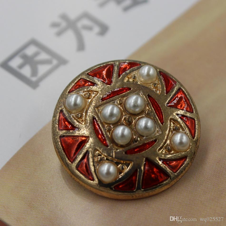 Hot sale in Europe and America New Design Alloy oil Rhinestone clothing Button Exquisite Retro pearl button #01542#