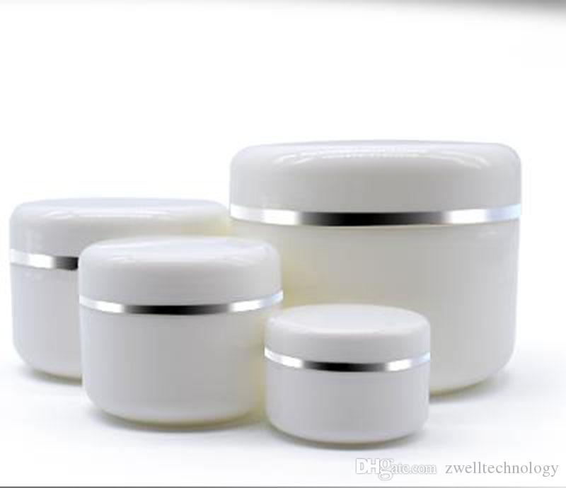 PP الأبيض الفضة حافة جرة بلاستيكية لمستحضرات التجميل وجه كريم جرة وعاء حاوية وعاء زجاجة لعينة 250G 100G 50G
