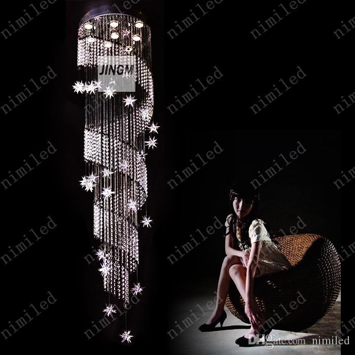 nimi1007 Duplex Rotation LED Lustre En Cristal Penthouse Escalier Lampe Lights Long Pendentif Éclairage Suspendu Ligne Villa Hôtel Hall Hall