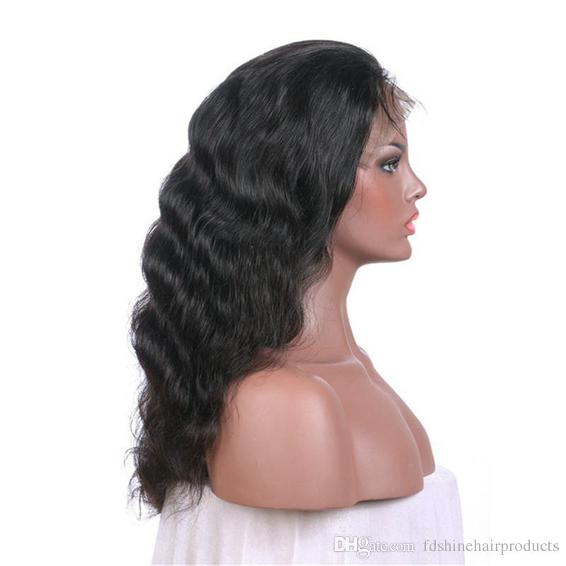 Virgin Indian Hair Full Lace Wigs With Baby Hair Glueless Body Wave Human Hair Lace Front Wigs FDSHINE