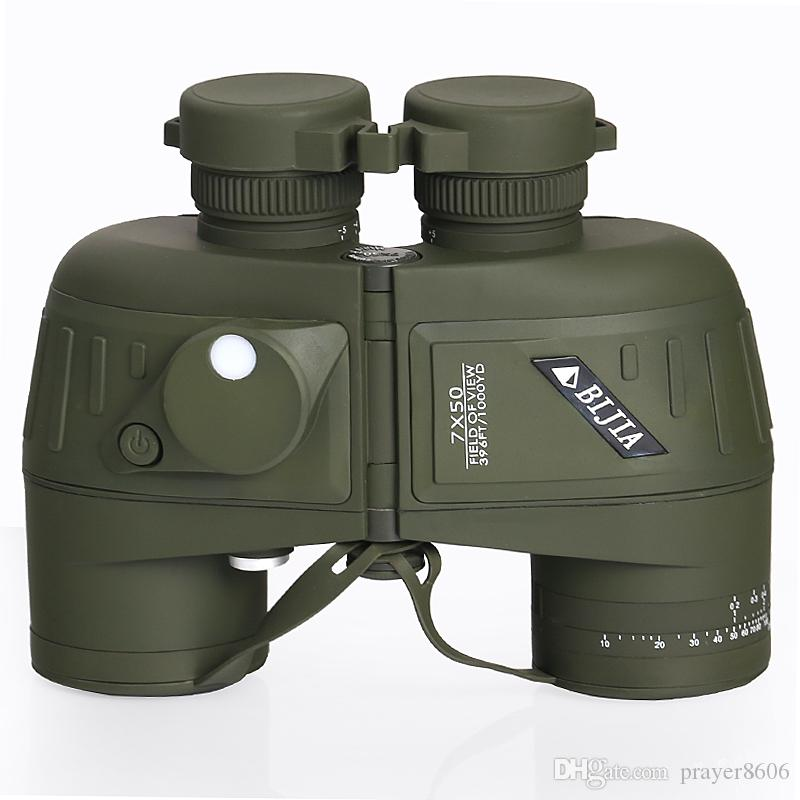 BIJIA 7X Hd Portable Navigation Waterproof Binoculars Army Standard 7x50 Night Vision Military Telescope With Compass Measuring Distance