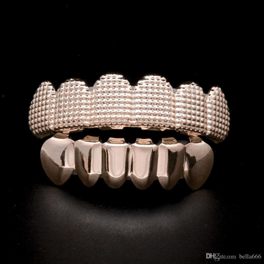 Rose gold plated Lattice Shape Hip-Hop Grillz Top & Bottom Teeth Fangs Halloween Party Props Dental grills Body Jewelry Mouth Grill