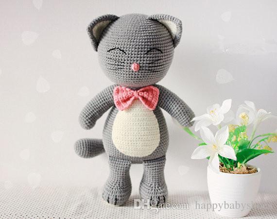 Großhandel Amigurumi Häkeln Katze Puppe Rassel Spielzeug Geschenk