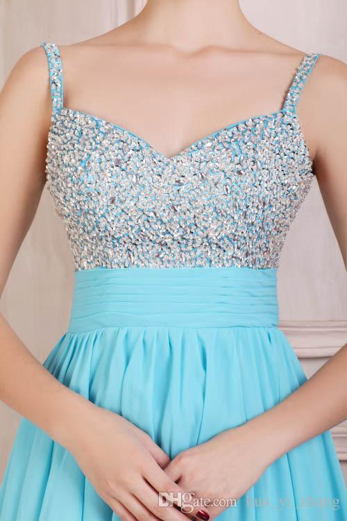 Simple Beaded Light Blue Homecoming Dresses Spaghetti Short Mini Skirt Ruffle Belt Chiffon Zipper Back Prom Gowns Real Images