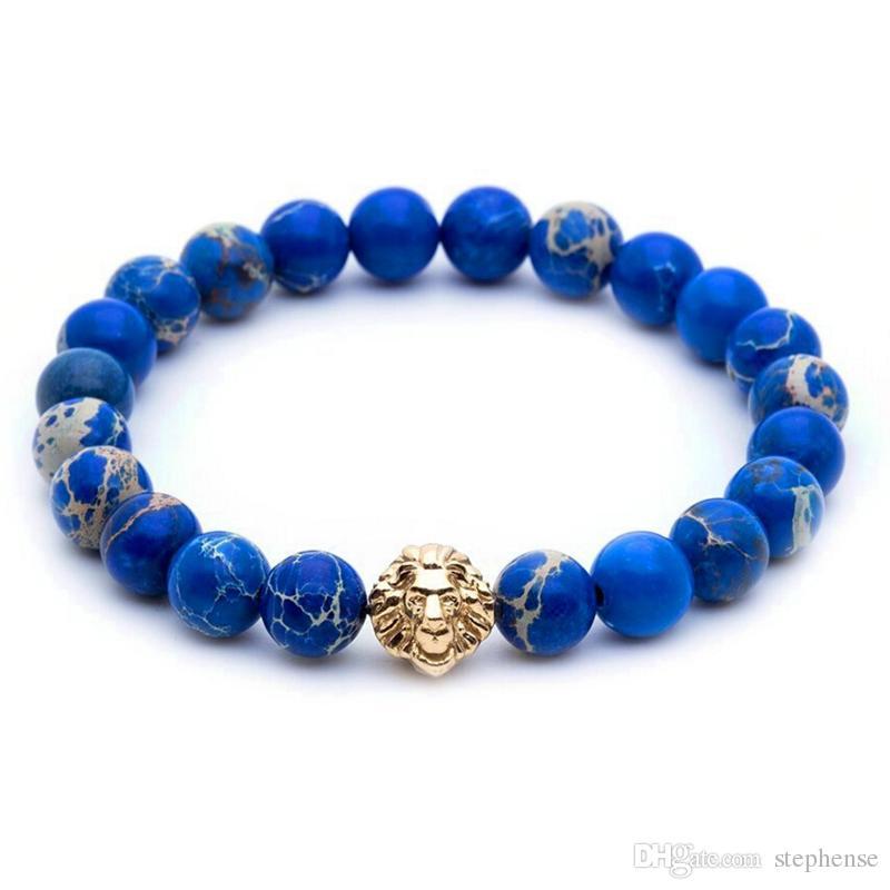 SN0446 8mm Bleu Sédiment Mer Pierre Perles 18 K Or Rose Or Argent Lion Tête Bracelet, 2016 Nouveau Design Haute Qualité Hommes Bijoux
