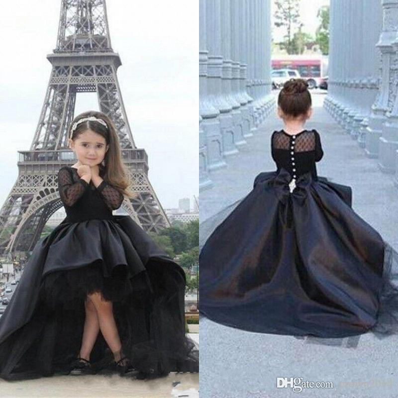 2018 Long Sleeves Little Girls Pageant Dresses Black High Low Jewel