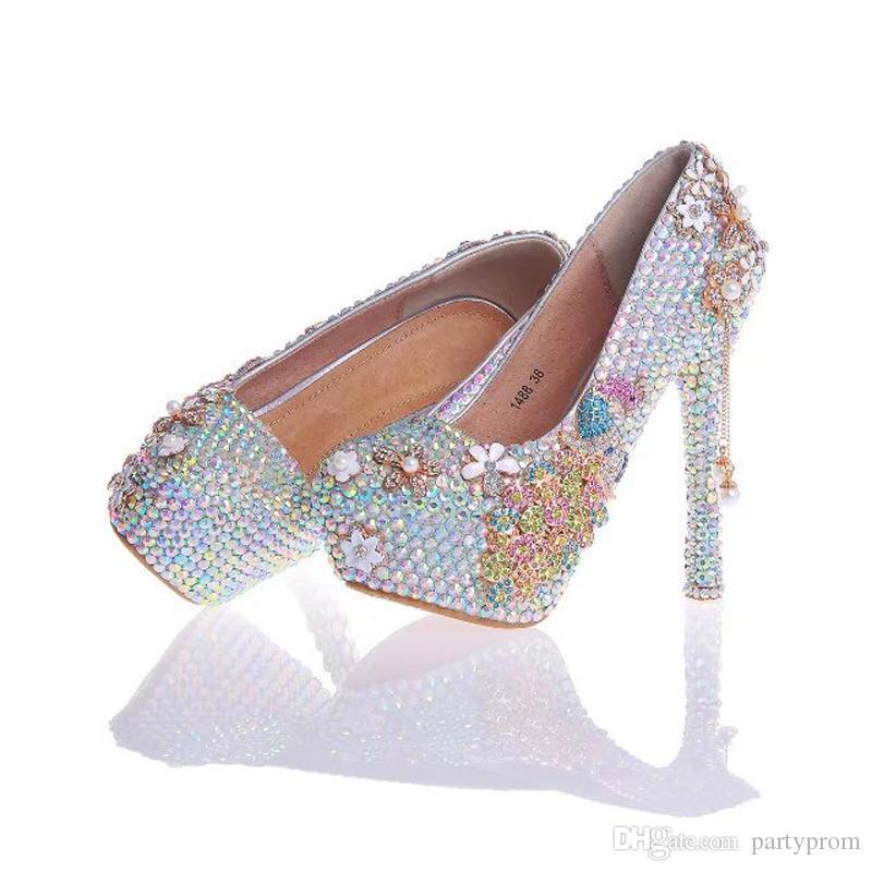 2017 Gorgeous Cenerentola Scarpe da ballo Strass con Phoenix Shoe Party Shoes Handmade Donne Pompe blu rosa viola Plus Size