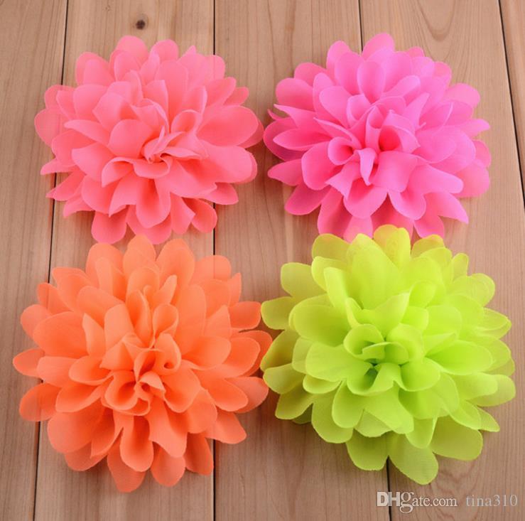 10CM en mousseline de soie Fleurs pour bébé fille Couvre-chef filles capitule Accessoires cheveux Tissu en mousseline de soie fleurs avec la coiffe des enfants 2440