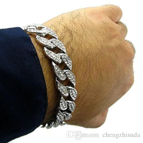 Uomo Luxury Simulated Diamond Fashion Bracciali Bangles Alta qualità placcato in oro Iced Out Miami Bracciale cubano Hip Hop