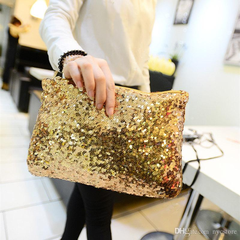 DHL FREE sparkling clutch bags evening bag Fashion Dazzling Glitter Bling Sequins women Evening Party purse Bag Handbag for Women 26X15CM