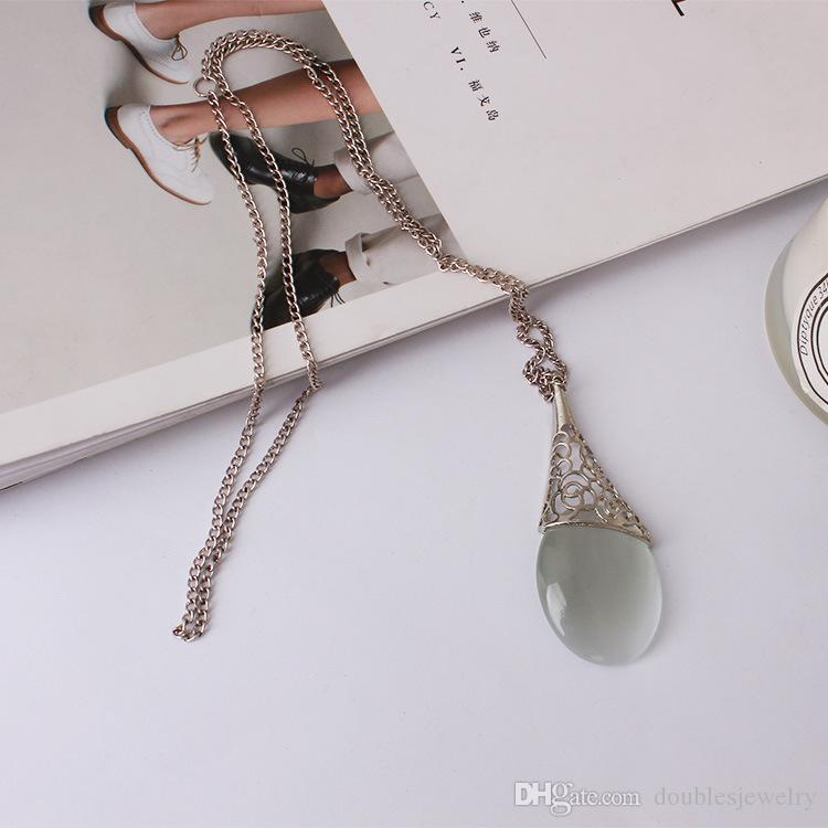 Europe and the United States are clear clear opal pendant engraved metal retro sweater chain necklace antique manufacturers supply direct sa