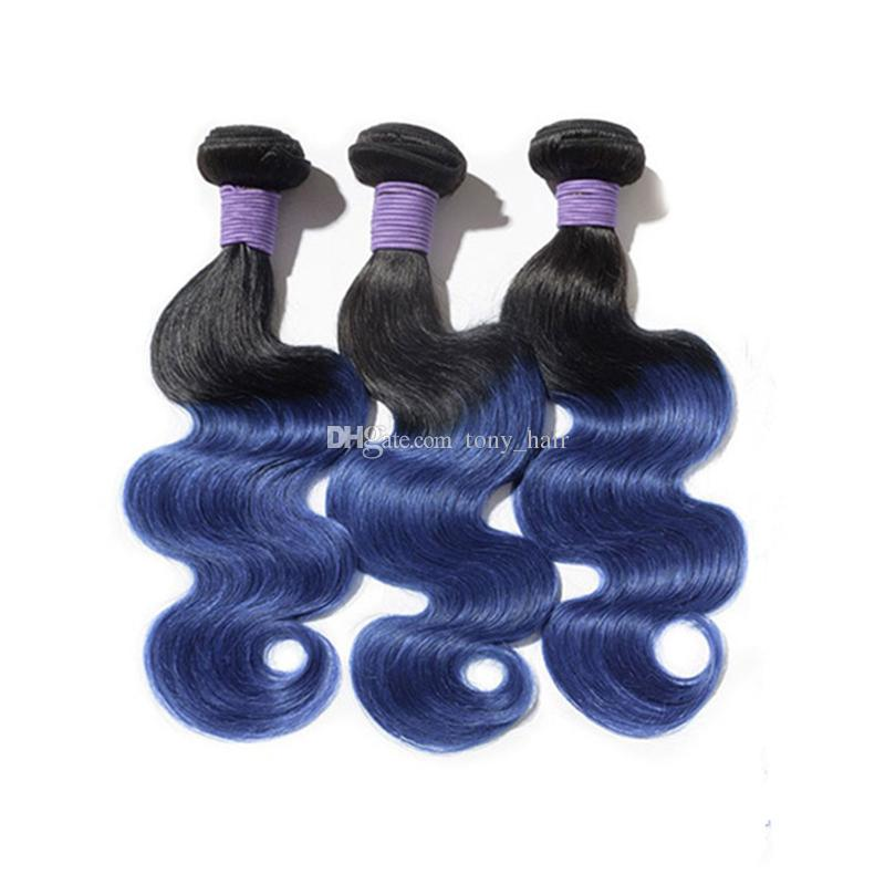 Virgin Malaysian Body Wave Ombre Hair Bundles With Lace Closure Two Tone 1B Blue Ombre Hair Weaves With Top Closure