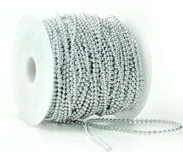 1 lotto 50meter 3mm Perle tonde placcato argento / oro Ghirlanda catena Trim capelli Stying Wedding Home Decoration Craft
