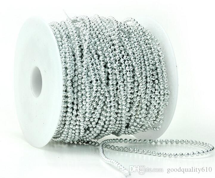 1spool 50meter 3mm Round Beads Plated Silver/Gold Garland Chain Trim For Hair Stying Wedding Home Decoration Craft
