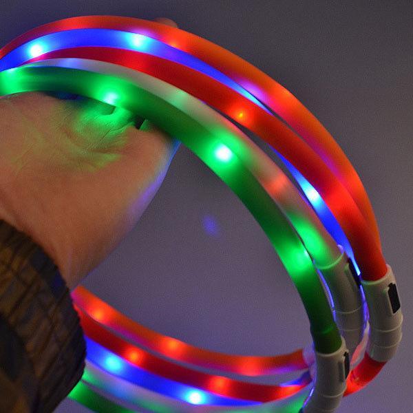 Hundehalsbänder Hundebedarf Hundehalsbänder USB wiederaufladbare Hundehalsband LED einstellbare Blinklicht wasserdicht Hundeband Heimtierbedarf