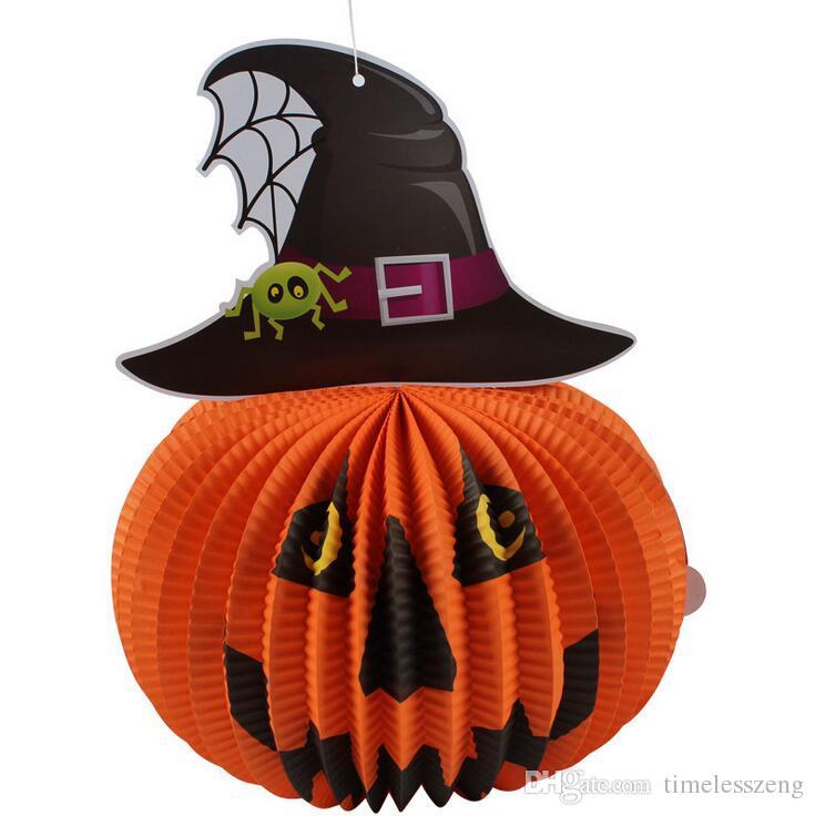 Halloween Lantern Ornament nicht elektronische Kerzen Papier Hexe Fledermäuse Spinne mit Seil Home Party Bar Kindergarten Ornament Prop