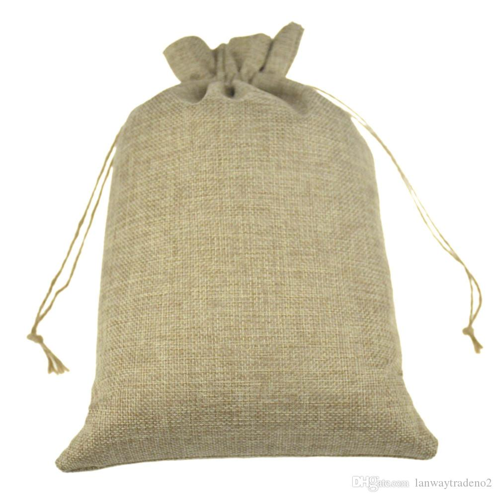 multi sizedouble Natural Color Jute Burlap Drawstring bags Gift Storage Bags For Wedding Decor Cosmetic Jewel Sundries Packaging