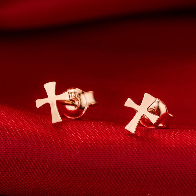 10 Çift-S031 Küçük Düz Sideways Çapraz Küpe Basit Tiny Geometrik Küpe Serin İnanç Hıristiyan Dini Çapraz Saplama Küpe