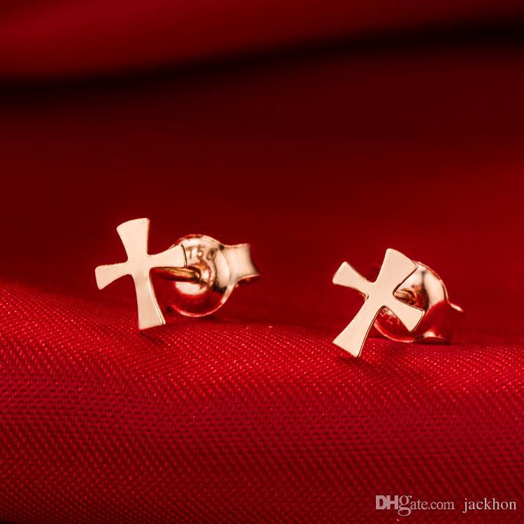 - S031 Small Flat Sideways Cross Earrings Simple Tiny Geometric Earring Cool Faith Christian Religious Cross Stud Earrings