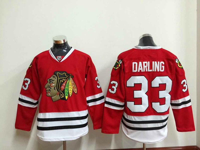 f0390fc7878 chicago blackhawks home jersey mens 33 scott darling red ice hockey jersey  stitched 100