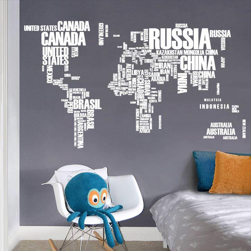 World Map Removable Wall Sticker.World Map Letter Quote Removable Vinyl Decal Art Mural Wall Stickers