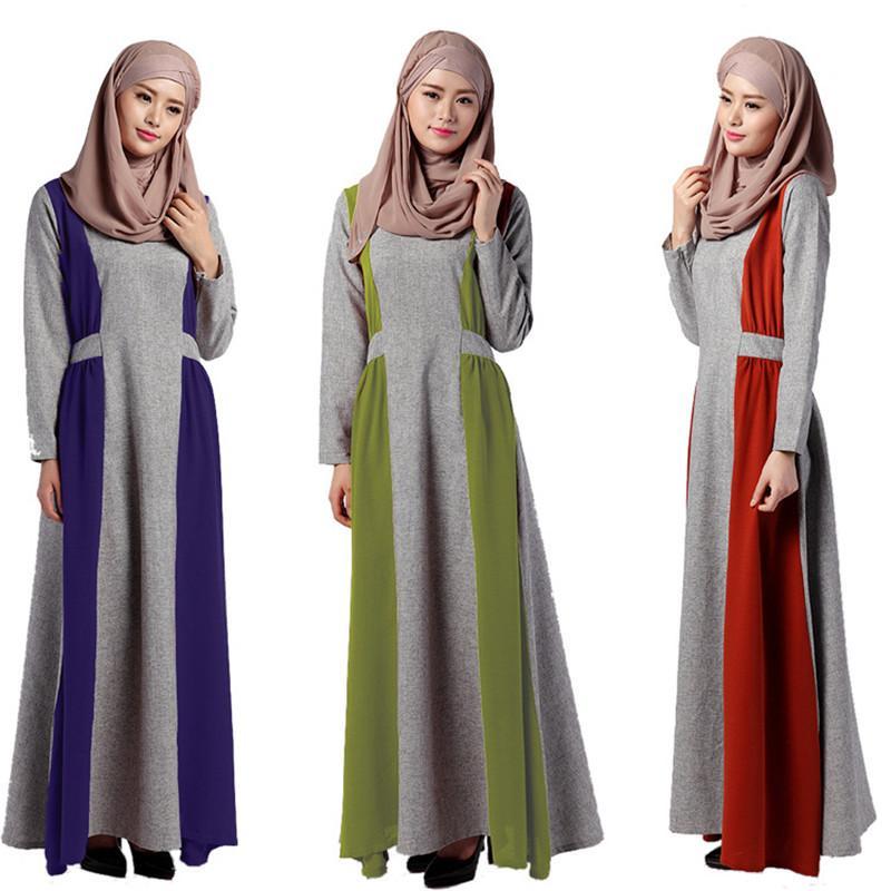 2017 Abaya Maxi Dress Black Muslim Modern African Print