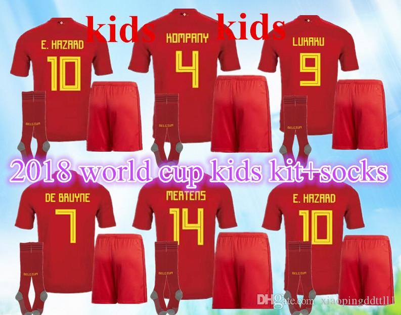 2019 TOP QUALITY 2018 World Cup Belgium Home Red Kids Kit+Socks Soccer  Jersey 17 18 Away LUKAKU HAZARD VERMAELEN KOMPANY DE BRUYNE Football Shirt  From ... 378c8b7e5